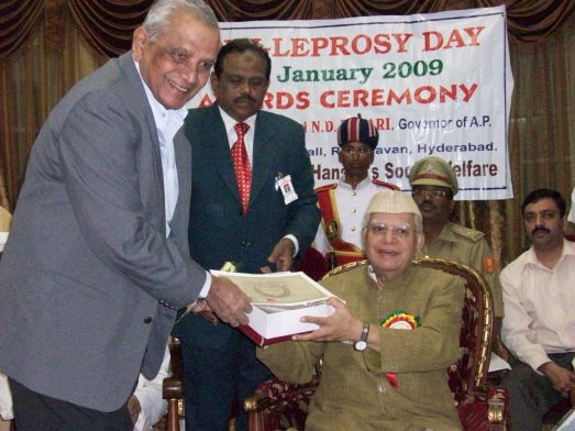 Dr. Hrishikesh recieves a lifetime achievement award from the governor of A.P.
