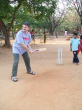Playing Cricket in the yard